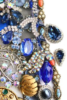 Vintage Blue Broken Jewelry Lot - Earrings, Brooches, Necklaces, Rhinestones for Repair Repurpose / Over 1 Pound of Blue Destash Supplies by Maejean Vintage, $32.00