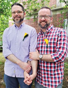 "Craig Shupee and David Holland in Morningside Heights: ""We met online,"" said Holland. ""Craig was living in Dallas and I was living in Chicago. I was on my computer and got a message, 'Howdy.' After phone and online chatting, we just knew. I went down to see him, and within 24 hours we had bought rings. Within two months, he was living with me. Since that first weekend together, there's never been a moment when we thought we made a wrong choice."" #gay #LGBT #NYC"