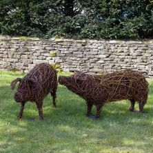 The contrasting willow colours create form and definition in each animal sculpture. Finally the piece is then coated in a linseed oil and turpentine solution to preserve and protect it. Emma was able to start her business with a loan from The Prince's Trust. Made from willow, wire & bronze wire. For more information about the willow sculptures and purchasing a bespoke order please contact Customer Services on: 0845 521 4342.
