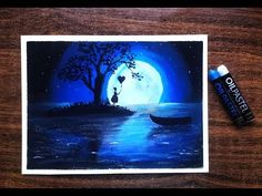 How to draw Beautiful Moonlight Scenery with Oil Pastel for beginners - YouTube