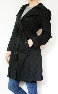 Trench coat simplu, negru, cu talia inalta marcata de cordon Trench, Coat, Jackets, Fashion, Down Jackets, Moda, Sewing Coat, Fashion Styles, Peacoats