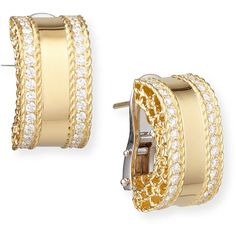 Robert Coin Princess 18k Gold Huggie Earrings with Diamonds ($7,100) ❤ liked on Polyvore featuring jewelry, earrings, diamond jewelry, pandora jewelry, gold hoop earrings, gold earrings and diamond earrings