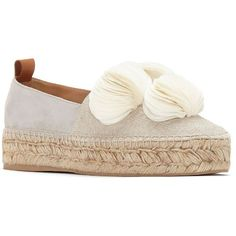 Mercedes Castillo Marianna Suede-Blend Espadrille Platforms (€395) ❤ liked on Polyvore featuring shoes, sandals, platform slip on shoes, espadrille flatforms, suede platform sandals, platform espadrilles and slip on shoes