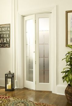 Transform a standard doorway into an architectural showpiece with this bi-fold door. Outfitted with a center hinge and two narrow panels, the door bends inward and folds to one side to allow easy pass #Narrowhallwaydecorating