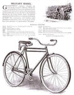 Original catalog advertisement from Print Ads, Old Photos, Columbia, Military, Bicycles, Bike, The Originals, Winter, Wwi