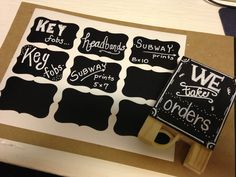 """Mini chalkboard easel and vinyl labels all from """"Hobby Lobby"""""""