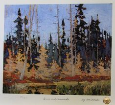Tom Thomson, Spruce and Tamarack, Fall 1916 Oil on Wood x cm Group Of Seven Artists, Group Of Seven Paintings, Paintings I Love, Nature Paintings, Oil Paintings, Canadian Painters, Canadian Artists, Landscape Art, Landscape Paintings