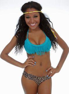 6e9a70ca90a8f Light Teal Fringe Bikini Top w  Cheetah Bottoms Light Teal