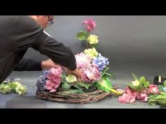B63 藝術絲花設計 creative silk flower arrangement - YouTube