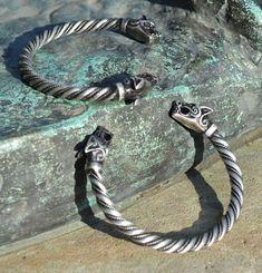 Viking Tin Wolf Bracelet Fenrir Pagan Norse by WulflundJewelry