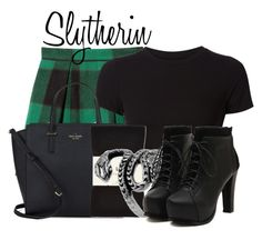 """""""Slytherin from Harry Potter"""" by ginger-coloured ❤ liked on Polyvore featuring Sea, New York, Getting Back To Square One, Kate Spade, Falke and Represent"""