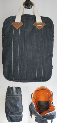 DIY Denim Bag made from a raw Nudie Jeans with Orange Neon Lining