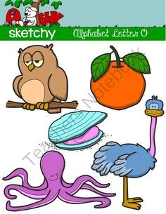 """Alphabet Clipart Letter """"O"""" Graphic from Sketchy Guy on TeachersNotebook.com -  (15 pages)  - Alphabet Clipart Letter """"O"""" Graphic  Alphabet Clip art Letters """"O"""" Graphics  Included is a set of 15 individual files.  The actual images are: -Oyster -Owl -Ostrich -Octopus -Orange"""