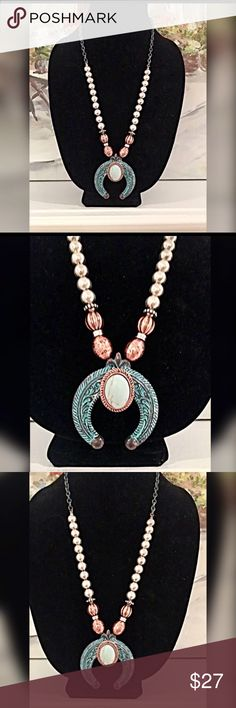 Oxidized Turquoise tone squash blossom necklace 24 inches with extender - etched detail in beautiful copper tone and silver tone! Jewelry Necklaces
