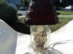 Mason jar altered by adding lamp cord and bulb/ wooden shade in red/ ring of berries in red and white by WhiskeysWhims on Etsy