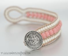 DIY Coral and Pearl Wrap Bracelet with tutorial.