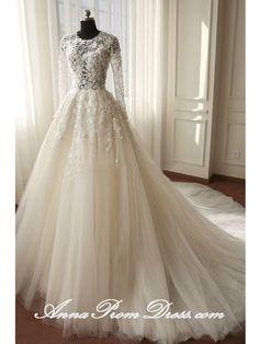 Lace Wedding Dresses Scoop A-line Brush Train Long Sleeve Luxury Bridal Gown JKS276