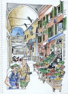 Acabo de volver de un mes de viaje, un par de dias en Munich y el resto en Italia, con casi cien sketches. Voy a ir subiendo de a seis aqui...