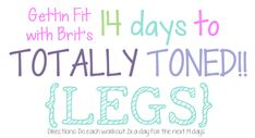 14 Days to Totally Toned! {LEGS}