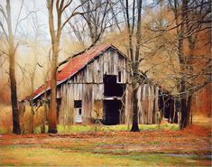 old barn in autumn Landscape Drawings, Landscape Art, Landscape Paintings, Landscapes, Barn Pictures, Pictures To Paint, Farm Barn, Old Farm, Watercolor Barns