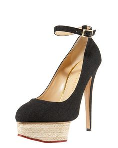Espadrille-Platform Canvas Pump, Black by Charlotte Olympia at Bergdorf Goodman.