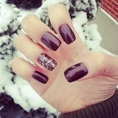 Here are some pretty nail art and styles you can try to add a little extra to your winter ensemble! I hope these nail designs were of som. Burgundy Nails, Purple Nails, Plum Nails, Purple Glitter, Purple Gold, Fancy Nails, Trendy Nails, Nice Nails, New Nail Designs