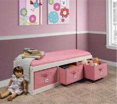 Kid's White Storage Bench With Pink Bins Organizer Cushion Bedroom Furniture New