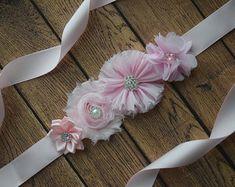 Flower Sash  Grey Sash  flower Belt maternity sash wedding
