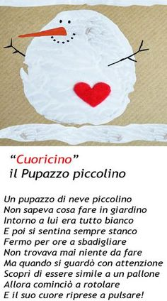 """""""Cuoricino""""  il pupazzo piccolino Winter Crafts For Kids, Winter Kids, Art For Kids, How To Speak Italian, Italian Lessons, School Of Rock, Make Do And Mend, Learning Italian, Nursery Rhymes"""