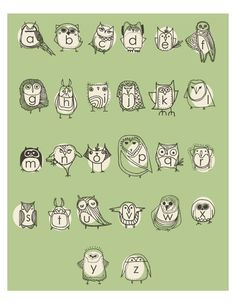 Owlphabet 8x10 Alphabet Print in Green ~ by Gingiber on Etsy