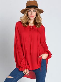 Red Long Sleeve Lace Up Blouse , High Quality Guarantee with Low Price!