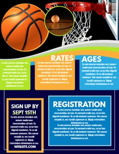 Basketball game flyer template. Click to customize