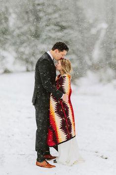 30 Fairytale Winter Wedding Photo Ideas ❤ winter wedding photo ideas bride under color plaid benjhaisch #weddingforward #wedding #bride