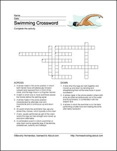 Swimming Word Search Crossword Puzzle And More