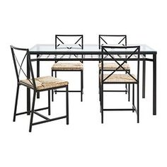 IKEA - GRANÅS, Table and 4 chairs, The table top made of tempered glass is easy to clean and more durable than ordinary glass.You can store anything from magazines to table napkins on the practical shelf under the table top.