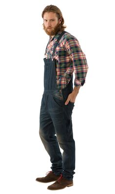 USKEES TOBY Slim Fit Men's Dungarees - Dark Wash. #hipster #overalls #mensdungarees #biboveralls #mensfashion