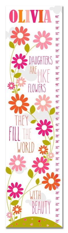 Pink Growth Chart Personalized Growth Chart Canvas Growth Chart