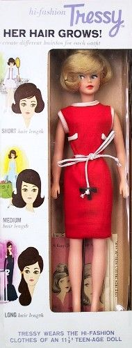 "This was the first Tressy doll made by American character - 1964.  I had one of these! You had to use her ""T"" key from her belt to wind back her long strands of hair that came out the top of her head."