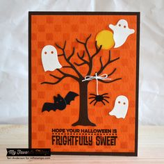 Spooky Sentiments, Centerpieces Spooky Window Die-namics, Spooky Scene Die-namics, Small Checkerboard Stencil - Teri Anderson #mftstamps