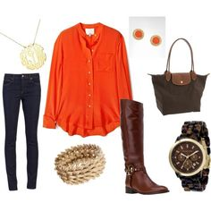 College Class Outfit for the Fall: Orange top, dark skinny jeans, brown riding boots w/ brown & gold accessories. Fall Winter Outfits, Autumn Winter Fashion, Winter Stil, Fall Wardrobe, Fashion Outfits, Womens Fashion, Fashion Models, Look Cool, Chic