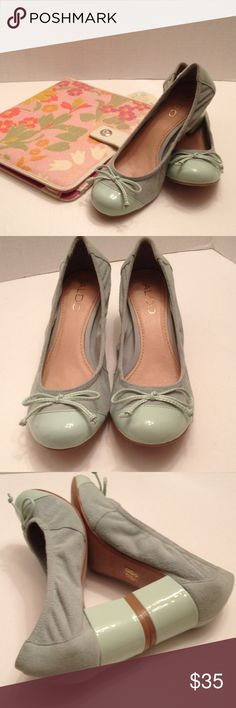 Aldo green suede shoes Nice green suede & leather ballet heel shoes in good condition. Shoes look nice with pants, dress or skirts. Nice pop of color... Aldo Shoes Heels