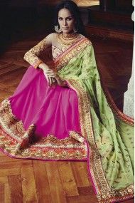 Net and Bemberg Georgette Heavy Embroidery Designer Saree In Sea Green and Pink Colour