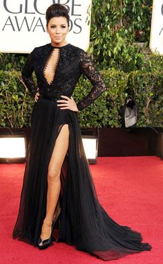 Eva Longoria stuns in revealing gown, shows off leg in floor-length black lace dress at the 2013 Golden Globes