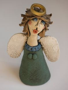 Angel, Clay Angel, Clay Little People, FEMALE SCULPTURE, Female, Woman, Sculpted Figure, Porcelain figure, Clay People, Clay Sculpture by KimberlyRorick on Etsy
