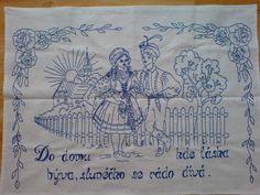 Vyšívaná kuchařka Ručně vyšívané bílé plátno 80x60 cm, určené k zavěšení na zeď. Možnost provedení vyšívky v jakékoliv barvě s termínem dodání do 3 týdnů. Delft, Embroidery Patterns, Folk, Crafts, European Countries, Czech Republic, Punch, Design, Needlepoint Patterns