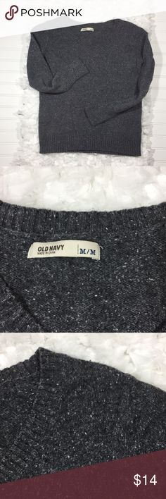 OLD NAVY Gray V Neck Sweater Classic V neck with pebbly gray  patterned knit.  Bust is 38 inches around with some stretch.  Sweater is 23 inches long.  Cotton/acrylic/wool blend feels really nice.  Very minimal wear, almost like new condition.  All you need now is the campfire and hot chocolate.  No trades. 102532 Old Navy Sweaters V-Necks