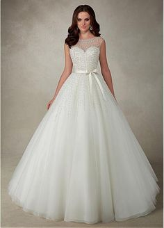 Stunning Tulle Jewel Neckline A-line Wedding Dresses With Beadings