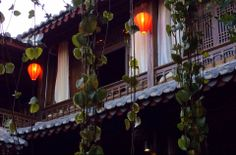 Attic with Chinese lanterns