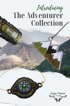 Travel and nature lover giftable jewelry collection: working compass jewelry, mountains necklace, arrow earrings, and more...