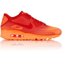 Nike Air Max 90 Hyperfuse QS Milan Sneakers ($150) ❤ liked on Polyvore featuring shoes, sneakers, red, shiny shoes, red flat shoes, lacing sneakers, lace up shoes and mesh shoes
